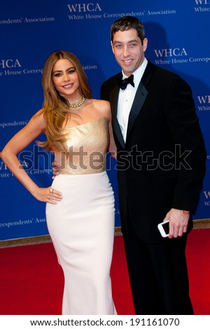 WASHINGTON MAY 3 -�� Sofia Vergara and fiance Nick Loeb arrive at the White House Correspondents� Association Dinner May 3, 2014 in Washington, DC - stock photo
