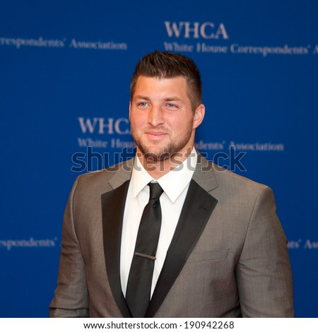 WASHINGTON MAY 3 -�� Tim Tebow arrives at the White House Correspondents� Association Dinner May 3, 2014 in Washington, DC - stock photo