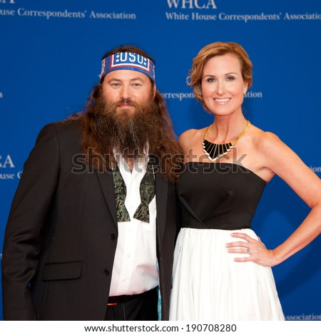 WASHINGTON MAY 3 � Willie Robertson and wife Korrie arrive at the White House Correspondents� Association Dinner May 3, 2014 in Washington, DC - stock photo