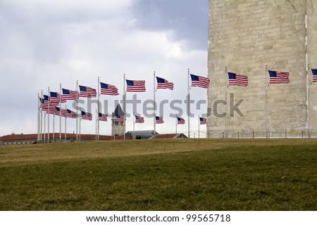 Washington Monument and Flags, Washington DC, United States - stock photo