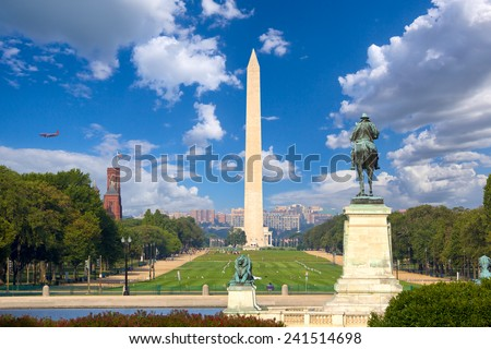 Washington Monument  and National Mall, Washington DC - stock photo