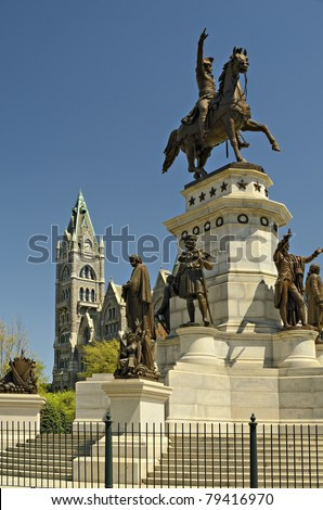 Washington Monument and Old City Hall Capital Square Richmond Virginia - stock photo