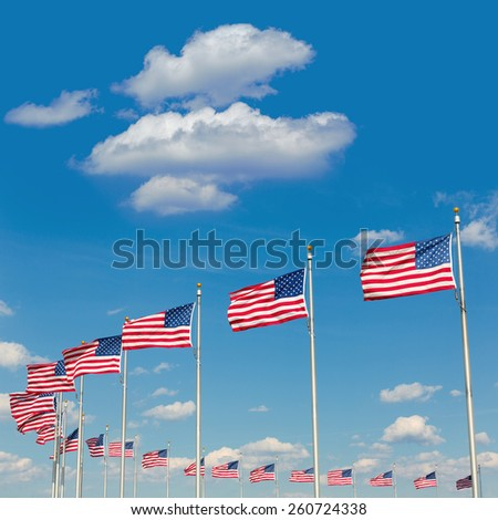 Washington Monument flags in District of Columbia DC USA - stock photo