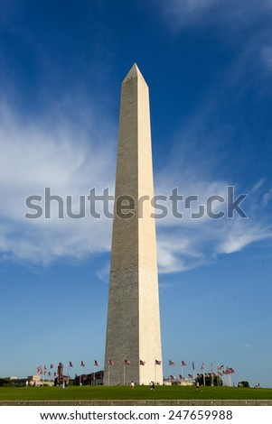 Washington Monument on the National Mall in Washington, D.C., built to commemorate George Washington. - stock photo