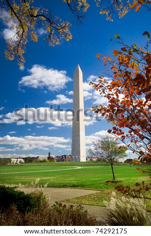 Washington Monument surrounded by autumn leaves.  Shot with a wide angle lens. - stock photo