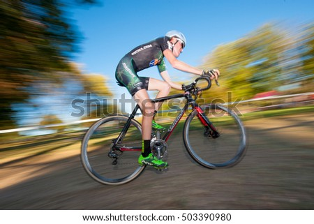 WASHINGTON OCTOBER 23 - A cyclist competes in the  elite menâ??s race at the DC cyclocross competition on October 23, 2016 in Washington, DC