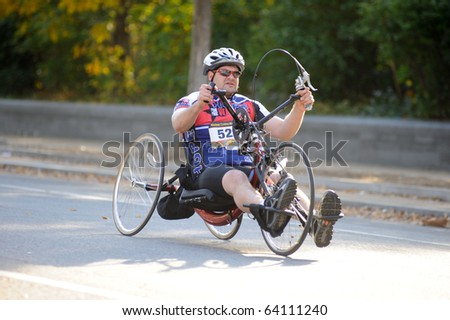 WASHINGTON- OCTOBER 31: A hand-cyclist competes in the Marine Corps Marathon on October 31, 2010 in Washington, D.C.