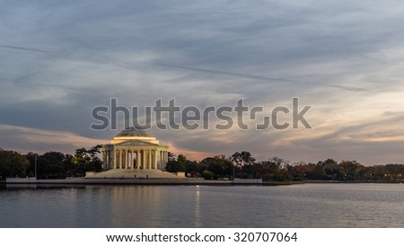 Washington - October 28: The Thomas Jefferson Memorial in downtown Washington DC, at dusk on October 28, 2014.