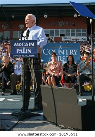 WASHINGTON, PA -- AUGUST 30, 2008: Governor Sarah Palin, Senator John McCain, Willow Palin and Meghan McCain in Washington, Pennsylvania on August 30, 2008 - stock photo