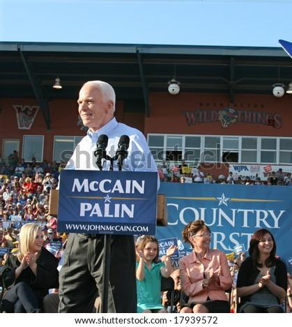 WASHINGTON, PA -- AUGUST 30, 2008: Governor Sarah Palin, Senator John McCain, Willow Palin, Piper Palin and Meghan McCain in Washington, Pennsylvania on August 30, 2008 - stock photo