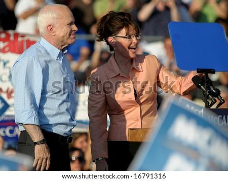 WASHINGTON, PA - AUGUST 30: Sen. John McCain and running mate Sarah Palin campaign in Washington, PA, on August 30, 2008. - stock photo