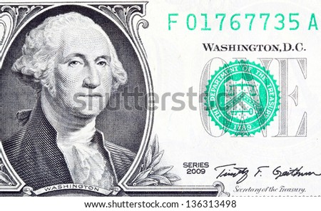 Washington's portrait on the dollar bill - stock photo
