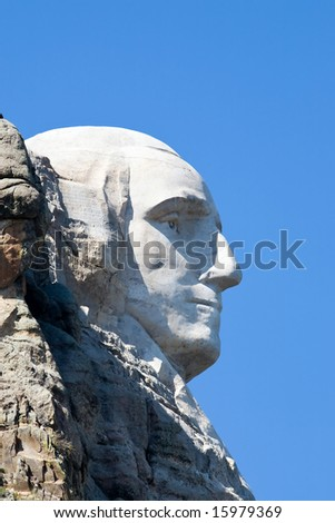 Washington's profile at Mount Rushmore - stock photo