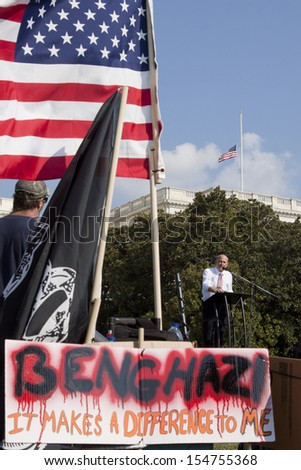 WASHINGTON-SEPT 11: Rep. Louie Gohmert (R-TX) speaks at the 911 Justice for Benghazi rally at the US Capitol on September 11, 2013 in Washington, DC. The event pushed for H.Res. 36 and H.Res. 306. - stock photo