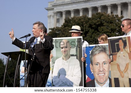 WASHINGTON-SEPT 11:Rep. Steve Stockman (R-TX) speaks at the 911 Justice for Benghazi rally at the Capitol on September 11, 2013 in Washington DC. The event pushed for House Res. 36 and House Res. 306. - stock photo