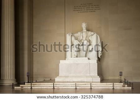 Washington - September 12: The Abraham Lincoln statue inside his memorial at Washington DC, on September 12, 2015