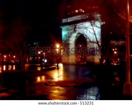 Washington Square in Spring Rain - stock photo