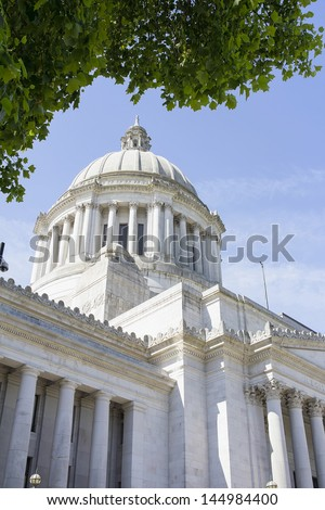 Washington State Capitol Building Dome  in Olympia Framed by Tree Foliage