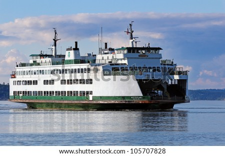 Washington State ferry in the Puget Sound - stock photo