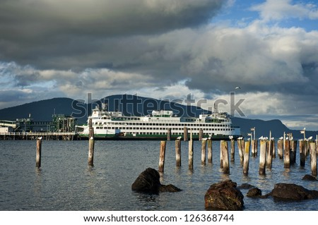 Washington State Ferry. Washington State Ferry boats run throughout the San Juan Islands in the Puget Sound area of western Washington. This ferry is on the Anacortes to Friday Harbor route. - stock photo