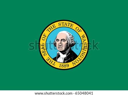 Washington state flag of America, isolated on white background. - stock photo