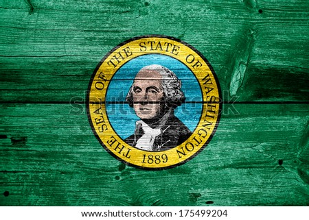 Washington State Flag painted on old wood plank texture - stock photo