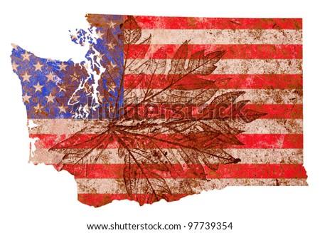 Washington state of the United States of America in grunge flag pattern isolated on white background - stock photo