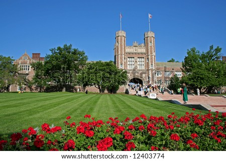 Washington University during spring graduation ceremonies - stock photo
