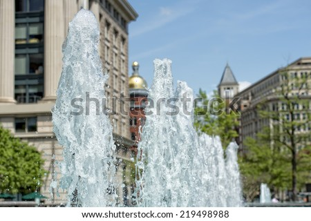 washington us navy memorial water fountain detail - stock photo