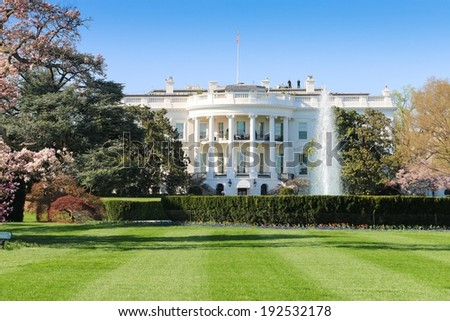 WASHINGTON, USA - APRIL 12, 2014: A closeup view of the South facade of the White House.