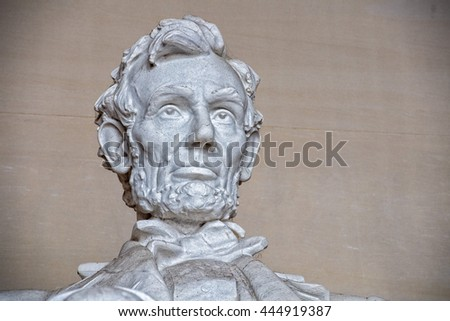 WASHINGTON, USA - JUNE 24 2016 - Lincoln statue detail at Memorial in Washington DC is a most visited touristic place in DC