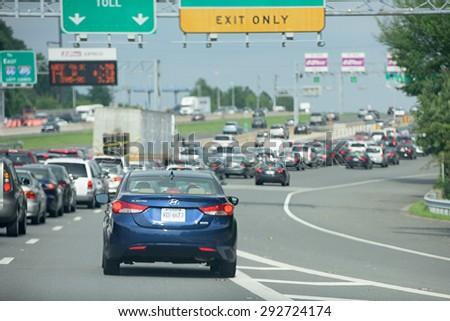 WASHINGTON, USA JUNE, 22 2015 Maryland to Washington heavy car traffic Congested highway  - stock photo