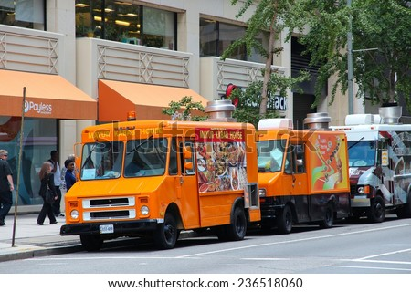 WASHINGTON, USA - JUNE 14, 2013: People buy food from the trucks in Washington DC. 646 thousand people live in Washington DC (2013) making it the 23rd most populous US city. - stock photo