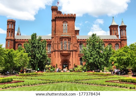 WASHINGTON, USA - JUNE 14, 2013: People visit the Smithsonian Institution in Washington DC. 18.9 million tourists visited capital of the United States in 2012. - stock photo