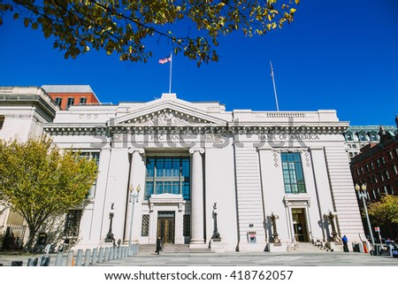 Washington, USA - October 19, 2015: PNC Bank. Streets, Architecture and traffic of Washington DC. Washington is the capital of the United States