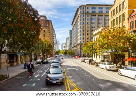 WASHINGTON, USA - SEP 24, 2015: Architecture and traffic of Washington DC.  Washington is the capital of the United States - stock photo