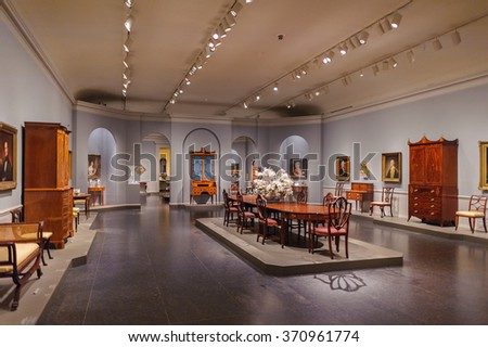 WASHINGTON, USA - SEP 24, 2015: interior part of the National Gallery of Art, a national art museum in Washington, D.C., National Mall, between 3rd and 9th Streets, at Constitution Avenue NW.