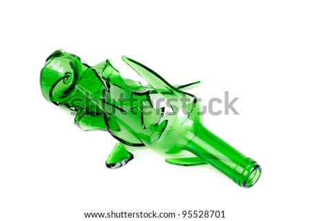 Waste glass.Recycled.Shattered green and brown  bottle - stock photo