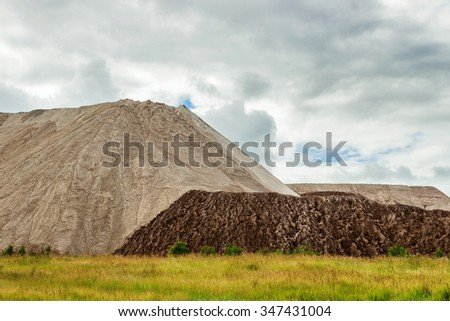 Waste heap near the mines in the Urals. Russia - stock photo