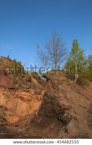 Waste heaps of red rock Chervonograd geological and industrial district