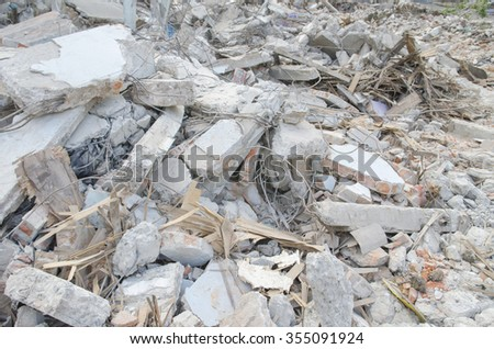 Waste of building construction demolition debris at abandon site of old residential - stock photo