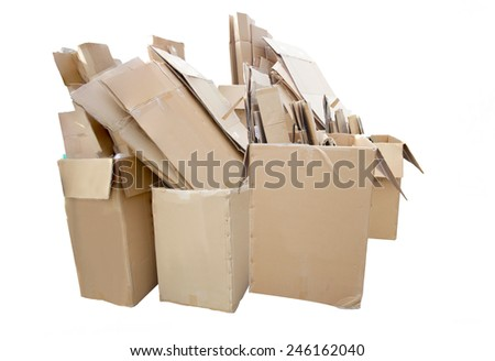 Waste paper Cardboard  for Recycling photo isolated on white background with clipping path. - stock photo
