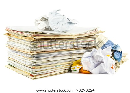 Waste paper on a white background - stock photo
