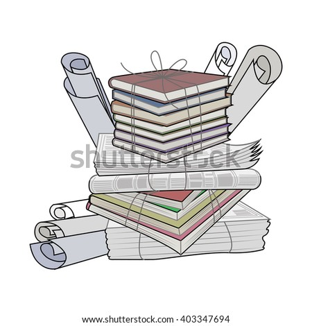 Waste paper. Paper waste and garbage suitable for recycling. Recycling cardboard, old paper. - stock photo