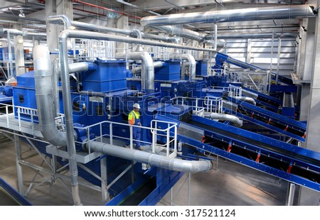 Waste recycling plant. Big plant for processing of household waste in Sofia, Bulgaria on 16 Sept. , 2015