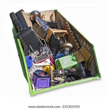 Waste skip filled with rubbish and trash after dissolving a household, isolated on white - stock photo