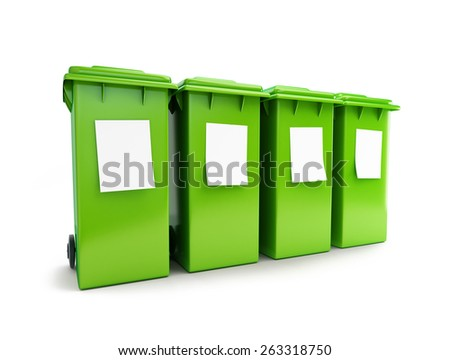 waste sorting four green wheeled bin 3d illustration on a white background - stock photo