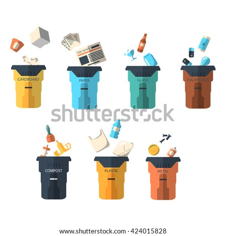 Waste sorting of garbage types set. Waste management and recycle concept. Separation of waste on trash metal garbage bins. Sorting waste recycling. Colored garbage cans with waste types. - stock photo
