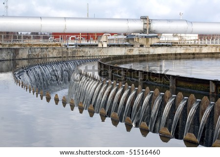 Waste water sedimentation and pipelines - stock photo