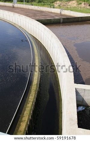 Waste water treatment plant - stock photo